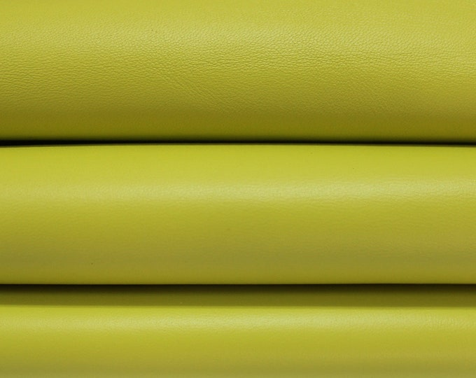 LIME YELLOW Italian genuine Lambskin Lamb Sheep leather skins hides 0.5mm to 1.5mm