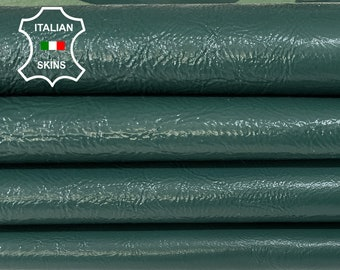 PATENT BOTTLE GREEN crinkled shiny thick Italian Lambskin Lamb Sheep leather 2 skins hides total 12sqf 1.2mm #A7402