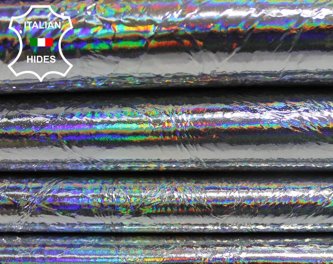 METALLIC SILVER HOLOGRAPHIC Iridescent Crinkle Patent Italian genuine Lambskin Lamb Sheep leather skin hide skins hides 0.7mm