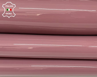 BOIS DE ROSE patent shiny wet look Italian calfskin calf cow strong leather hide hides skin pack 2 skins total 5sqf 1.1mm #A8215