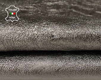 METALLIC ANTHRACITE gunmetal crispy crinkled rough vegetable tan thick Goatskin Goat leather 2 skins hides total 11sqf 1.3mm #A7590