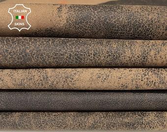 WALNUT BROWN antiqued crackled distressed stonewash vintage vegetable tan Lambskin Lamb Sheep leather 2 skins total 16sqf 1.0mm #A7735