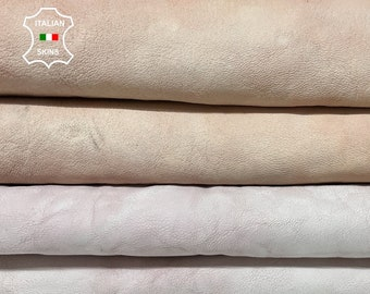 WASHED LIGHT PINK distressed vintage look thick Italian goatskin goat leather pack 2 skins total 11sqf 1.3mm #A8374