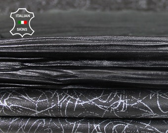 BLACK PACK 2 skins Pleated & distressed silver Italian lambskin Lamb leather 2 skins total 11sqf 0.7mm #A7317
