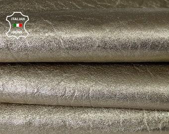METALLIC GRAINY PLATINUM Italian lambskin sheep leather skin skins hide hides 3sqf 1.1mm #A8086
