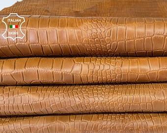 NATURAL BROWN CROCODILE embossed textured vegetable tan Italian lambskin sheep leather skin hide 2 skins total 14sqf 0.6mm #A8023