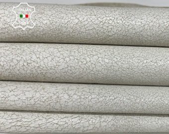 WHITE CRACKLED distressed stonewash vintage look Italian lambskin lamb sheep wholesale leather skins 0.5mm to 1.2 mm