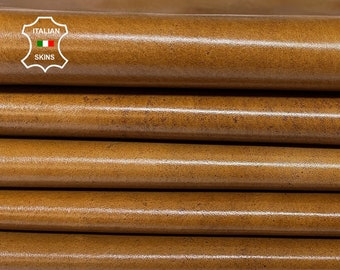 CAMEL BROWN SHINY antiqued distressed vintage look Italian Calfskin Calf leather 3 skins total 15sqf 1.0mm #A7599