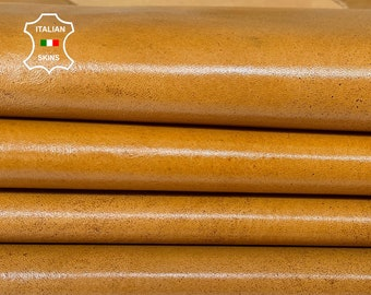 TAN SHINY antiqued distressed vintage look Italian Calfskin Calf leather 3 skins total 15sqf 1.0mm #A7594