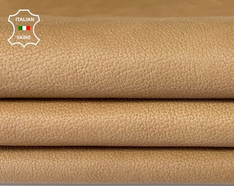 NATURAL SAND TAN Pebble grain vintage look vegetable tan Italian Calfskin Calf leather skin hide skins hides 8sqf 0.7mm #A7857