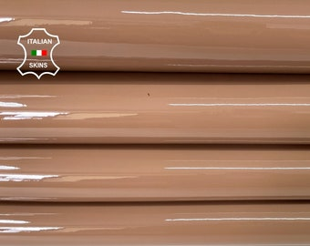 DARK NUDE PATENT shiny wet look Italian calfskin calf cow leather hide hides skin pack 2 skins total 8sqf 0.9mm #A8198
