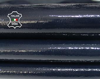 PATENT DARK BLUE crinkled shiny wet look Italian Calfskin Calf Cow cowhide genuine leather upholstery skin 9-14sqf 1.1mm #P10