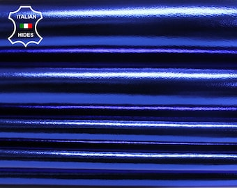 METALLIC ROYAL BLUE Italian genuine Lambskin Lamb Sheep leather skins hides