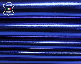 METALLIC ROYAL BLUE Italian genuine Lambskin Lamb Sheep leather skins hides
