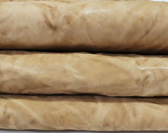 SAND BROWN washed rustic antiqued vintage Italian genuine thick lambskin lamb sheep leather skin skins hide vegetable tan tanned 5sqf #A2929