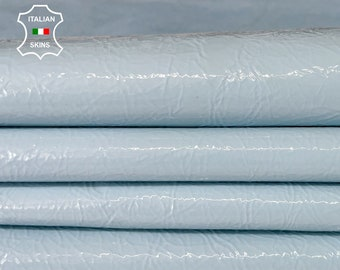 BABY BLUE PATENT crinkle shiny wet look Italian calfskin calf cow leather hide hides skin pack 2 skins total 6sqf 0.8mm #A8210