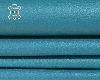 TEAL PEBBLE GRAINY grain turquoise light teal blue textured Italian genuine Goatskin Goat Leather skins hides 0.5mm to 1.2mm