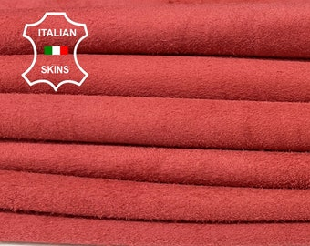 PERSIAN RED SUEDE Italian soft Lambskin Lamb Sheep leather sewing material crafts 2 skins total 14sqf 0.5mm