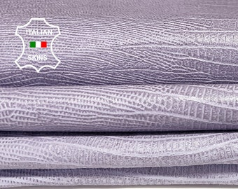 TEJUS REPTILE LILAC textured vintage look Italian Lambskin lamb sheep leather 2 skins total 14sqf 0.8mm #A7251