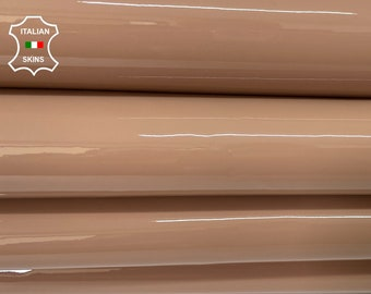 DEEP NUDE PATENT shiny wet look Italian calfskin calf cow leather hide hides skin pack 2 skins total 10sqf 0.8mm #A8200