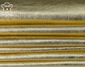 METALLIC GOLD thin soft Italian lambskin sheep leather skin skins hide hides total 3skins 10sqf 0.5mm #A8084