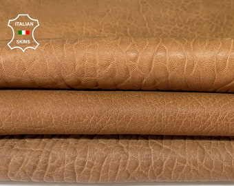 SAND BROWN BUBBLY Pack 3 shades grainy thick vegetable tan Italian Lambskin Lamb sheep leather 3 skins total 15sqf 1.8mm #A7684