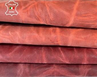 BRICK CRINKLE WRINKLE antiqued rustic vegetable tan vintage look Italian goatskin goat leather skin pack 2 skins total 10sqf 0.9mm #A8164