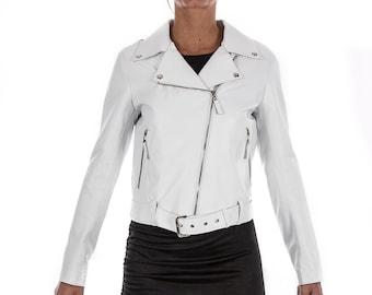 Italian handmade Women soft genuine lambskin lamb leather biker jacket slim fit color WHITE