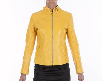 Italian handmade Women soft genuine lambskin leather jacket slim fit color Yellow