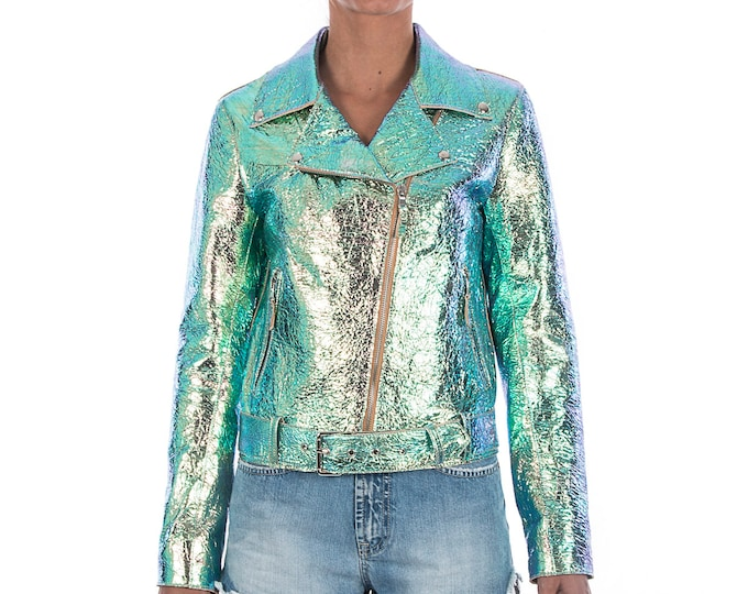 Italian handmade Women genuine leather biker jacket slim fit metallic iridescent crinkle green
