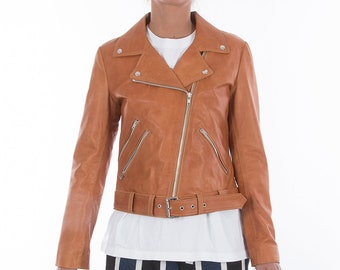 Italian handmade Women genuine leather biker jacket slim fit color Vintage Tan