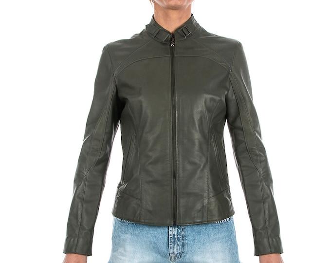 Italian handmade Women genuine lambskin leather jacket slim fit olive green