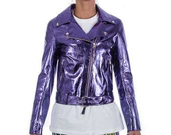 Italian handmade Women soft genuine lambskin lamb leather biker jacket slim fit color Metallic Purple