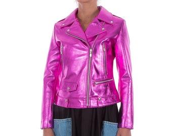 Italian handmade Women genuine leather biker jacket slim fit metallic Hot Pink Fuchsia