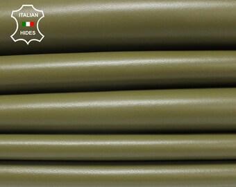 OLIVE GREEN ARMY Italian genuine Lambskin Lamb Sheep leather skin hide skins 5-8sqf 0.7mm #BRO135B2