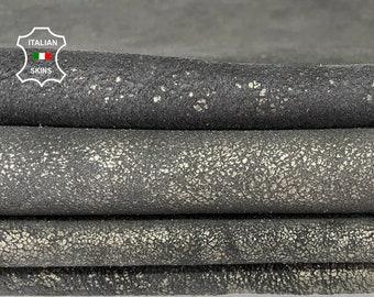 METALLIC GUN METAL stonewash crackled distressed vintage look Italian lambskin sheep leather skin hide 3 skins total 25sqf 0.9mm #A8044