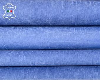 DENIM BLUE stonewash vintage look soft Italian lambskin lamb sheep leather skin skins hide hides 8sqf 0.7mm #A8275