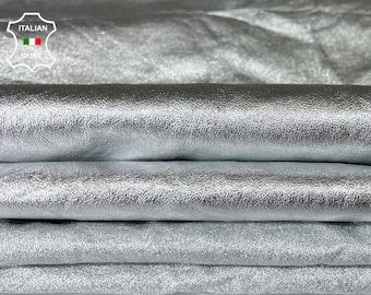 METALLIC SILVER WRINKLED thin soft Italian lambskin sheep leather skin skins hide hides total 2 skins 10sqf 0.5mm #A8083