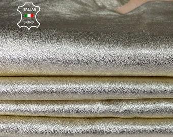 METALLIC LIGHT GOLD Italian lambskin lamb soft leather skin skins hide hides 2 skins total 8sqf 1.2mm #A8061