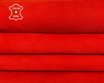 RED CORAL SUEDE Italian goatskin goat leather hide hides skin pack 2 skins total 10sqf 1.0mm #A8172