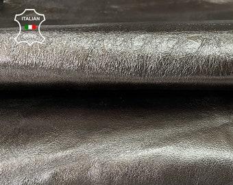 METALLIC GUN METAL crispy thick strong Italian goatskin goat leather skin skins hide hides 2 skins total 12sqf 1.2mm #A8058
