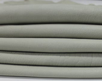 GREENISH GRAY Italian genuine washed thick lambskin lamb sheep leather skin skins hide hides vegetable tan tanned 4sqf #A2927
