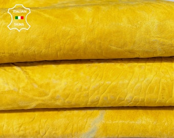 WASHED YELLOW natural textured grainy thick strong vegetable tan Italian Lambskin Lamb Sheep Leather 2 skins total 8sqf 1.8mm #A7617