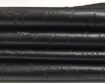 BLACK TEXTURED ARTISTIC pinholes Italian genuine Lambskin leather soft skins hides skin hide material for sewing 0.7mm 8sqf