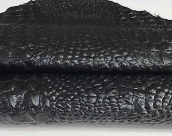 BLACK ALLIGATOR CROCODILE 3D embossed on Italian  lambskin lamb sheep leather skins hides skin hide 3-7sqf
