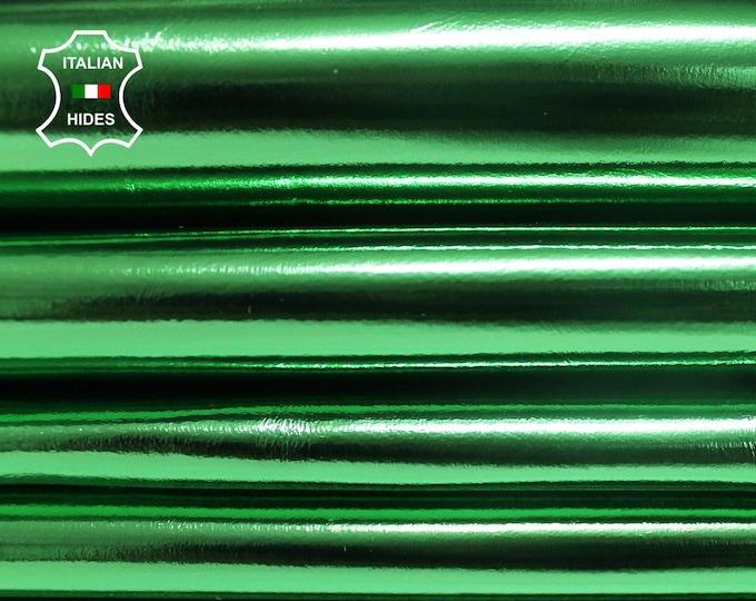 METALLIC GREEN Italian genuine Lambskin leather hide skin pelt skins hides 3-9sqf 0.7mm #RE160