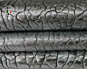 METALLIC BUBBLY SILVER distressed on dark green  thick Italian lambskin sheep leather skin skins hide hides 6sqf 2.0mm #A8046