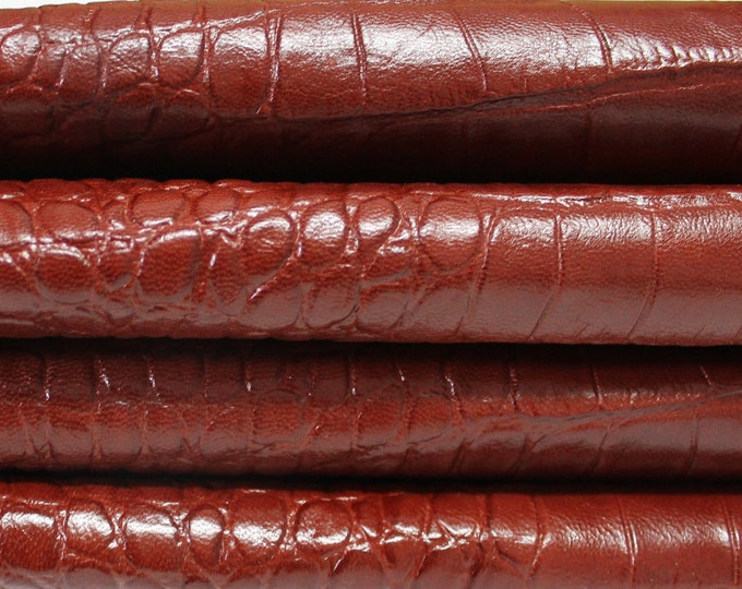 COGNAC BROWN CROCODILE Pattern Embossed  genuine Italian Goatskin Goat leather skin hide skins hides 0.7mm