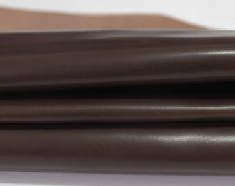 DARK BROWN Calf Calfskin Italian genuine leather skin skins hide hides smooth 6+sqf #A2805