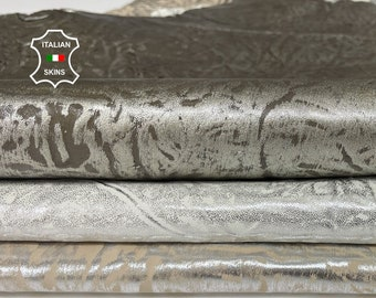 PACK METALLIC SILVER distressed textured stonewash vintage look Italian Lambskin Lamb sheep leather 3 skins total 15sqf 1.0mm #A7706